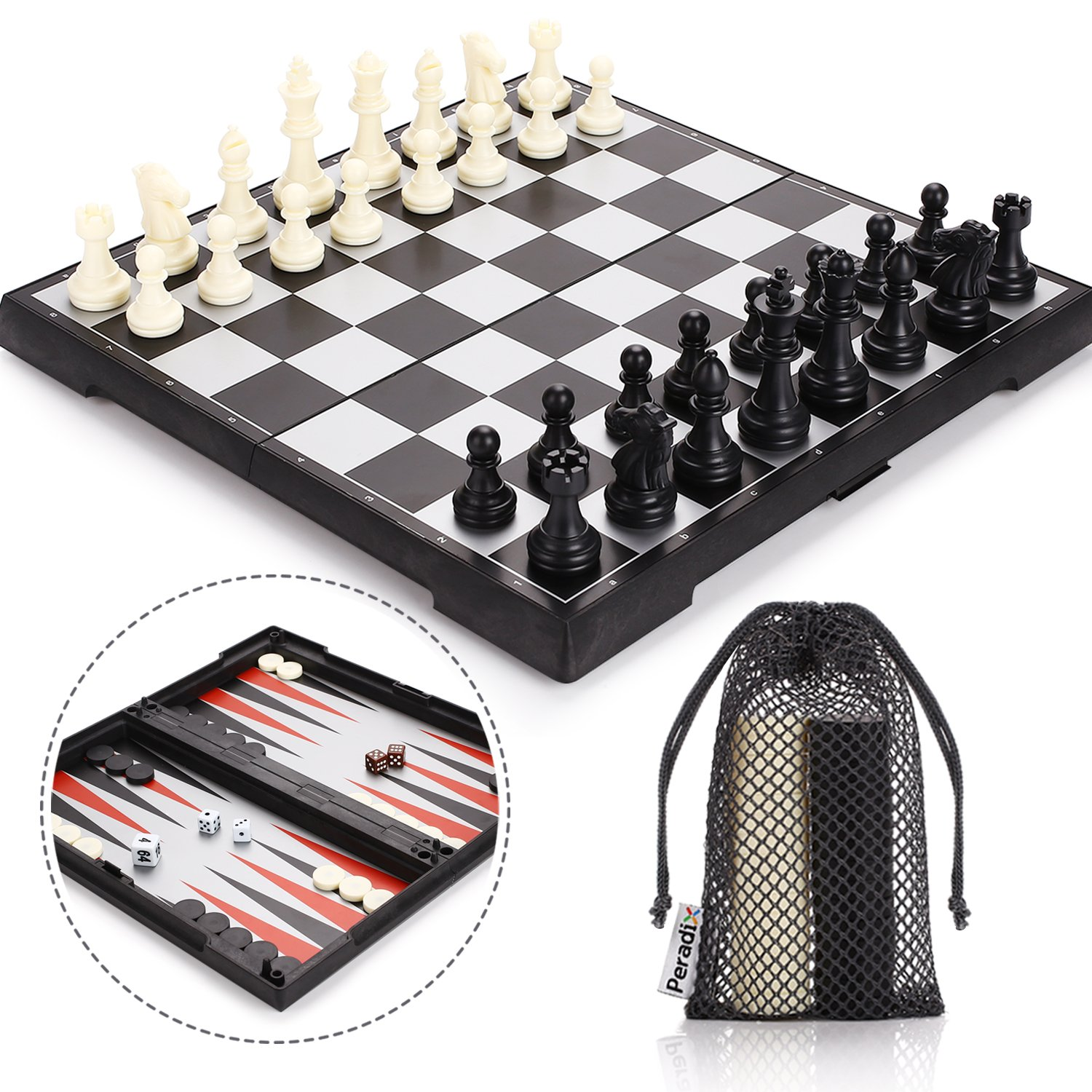 Peradix Magnetic Folding Chess Set, 3 in 1 with 3 Storage Bags, Staunton Magnet Chess Checkers Backgammon Travel Chess Board Game, Portable Travel Size, Educational Learning Toys for Teens and Adults by Peradix