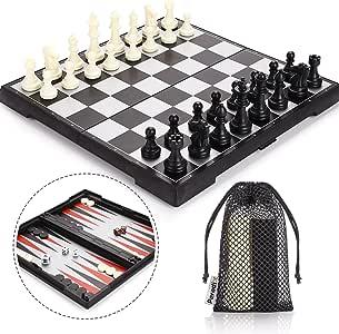 Peradix Tablero Ajedrez Magnetico, 3 EN 1 Ajedrez y Damas Backgammon en Estuche con Portátil de Tablero Plegable para niños y Adultos Juego de Ajedrez 32.6*32.6cm
