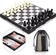 Peradix Magnetic Folding Chess Set, 3 in 1 with 3 Storage Bags, Staunton Magnet Chess Checkers Backgammon Travel Chess Board