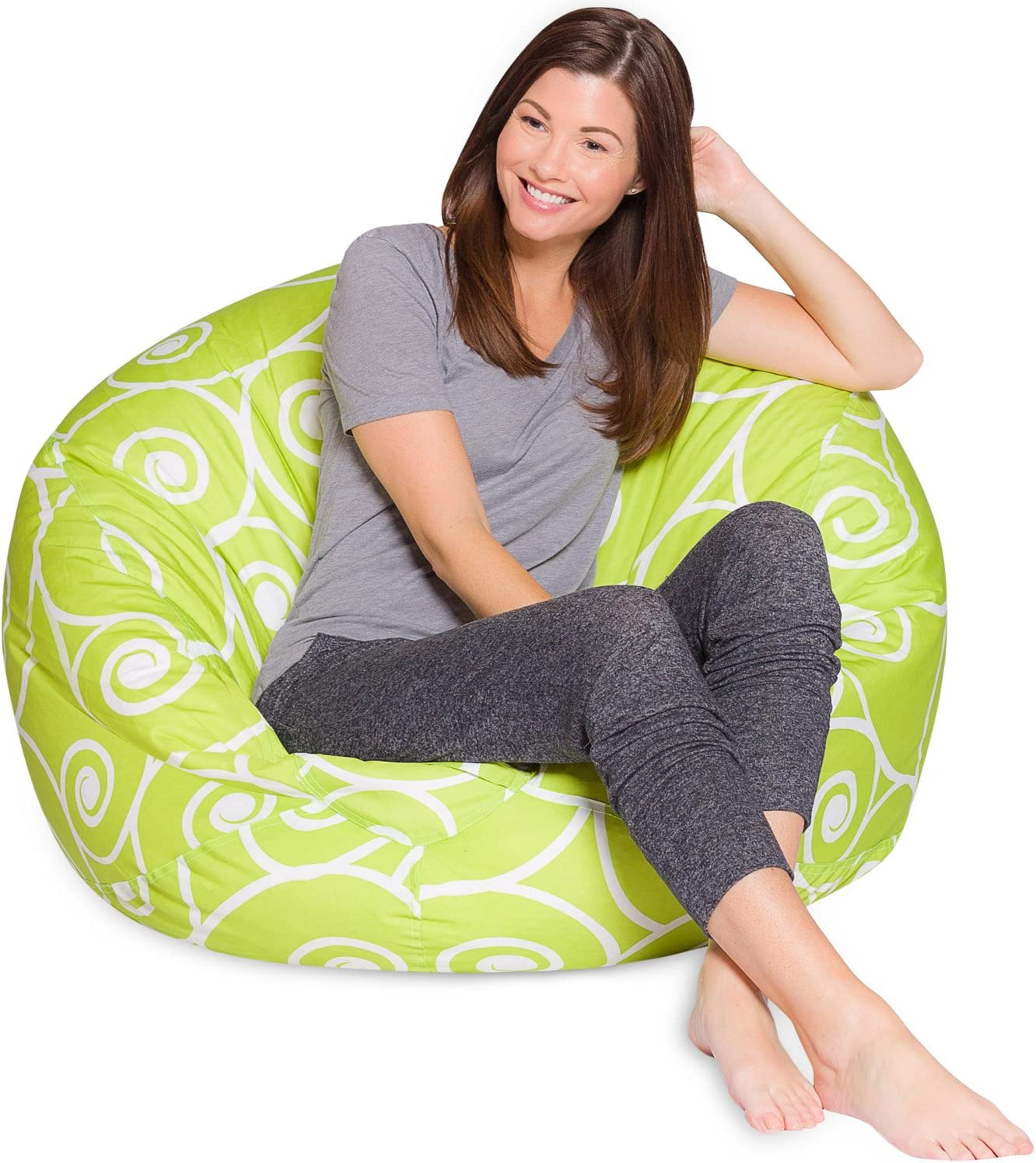 Posh Beanbags Big Comfy Bean Bag Posh Large Beanbag Chairs with Removable Cover for Kids, Teens and Adults Polyester Cloth Puff Sack Lounger Furniture for All Ages, 48in Extra, Swirls Lime and White