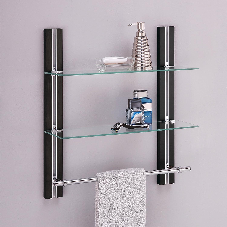 Merveilleux Amazon.com: Organize It All Wall Mount 2 Tier Bathroom Glass Shelf With  Towel Bar: Home U0026 Kitchen