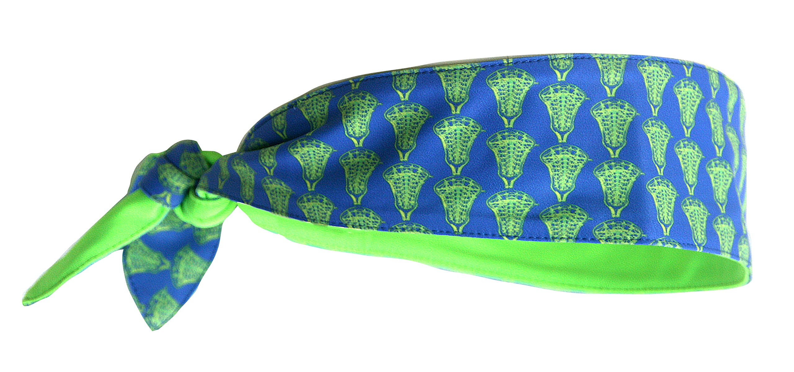 MSquare STYLISH TWO COLOR REVERSIBLE TIE HEADBAND WITH UNIQUE LACROSSE PRINT FOR FITNESS WORKOUT SPORTS LACROSSE RUNNING MOISTURE WICKING STRETCH FABRIC ADULTS KIDS LOOK GREAT WITH THIS UNIQUE PRINT