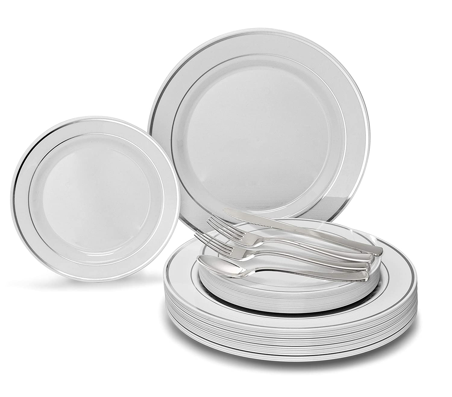 Plastic Wedding Plates.Occasions 720 Pcs 120 Guest Wedding Disposable Plastic Plate And Silverware Combo Set 10 5 7 5 Silverware White Silver Rim Plates Silver