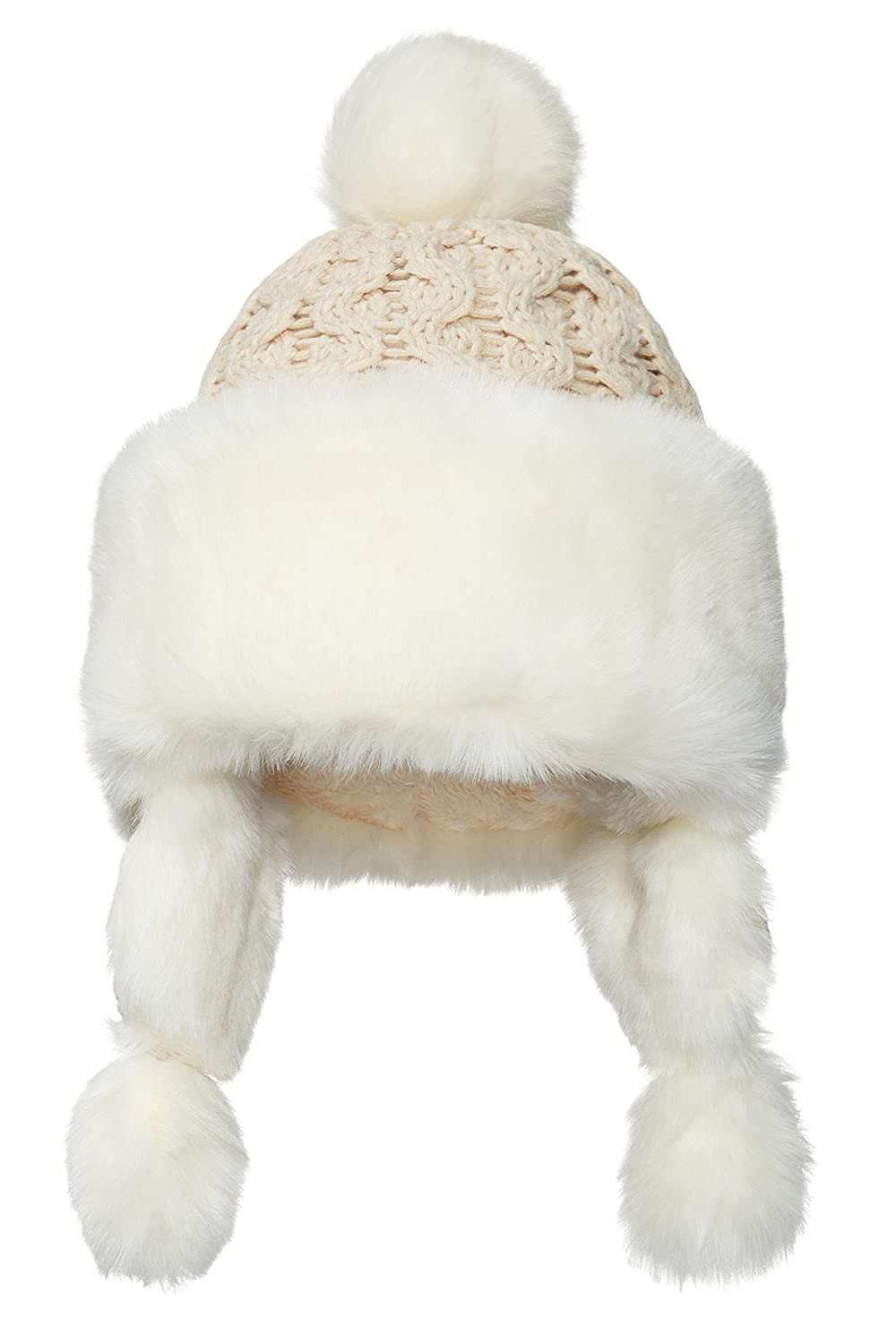 9c92a2cb3224f0 Nothing But Love Women Earflap Winter Hat With Faux Fur Trim Pom Pom Cable  Knit Trapper Ushanka Cap (Beige/White) at Amazon Women's Clothing store:
