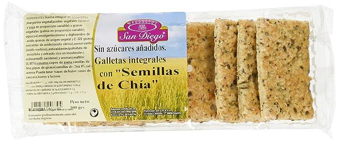 Productos San Diego Galletas Integrales con Semillas de Chía - Paquete de 12 x 100 gr