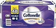 Cottonelle Toilet Paper, 24 Double Rolls (Equal to 48 Regular Rolls), 2-ply, Ultra ComfortCare, Soft Bath Tissue, Biodegradab