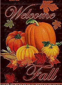 Dyrenson Happy Fall Yall Quote Garden Flag Double Sided, Home Decorative Autumn House Yard Flag, Rustic Harvest Pumpkin Yard Decorations, Maple Leaf Corn Vintage Seasonal Outdoor Flag 12 x 18.