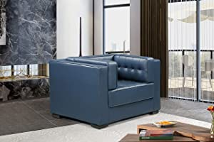 Iconic Home FCC9269-AN Lorenzo Accent Club Chair PU Leather Upholstered Tufted Shelter Arm Design Espresso Finished Wood Legs Modern Transitional Navy