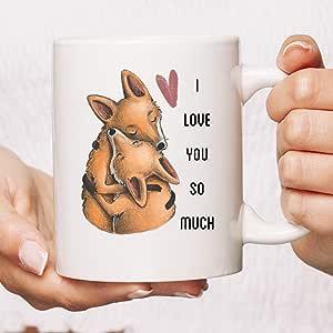 Amazon.com: I Love You So Much Fox Mug, Foxy Couple Mug