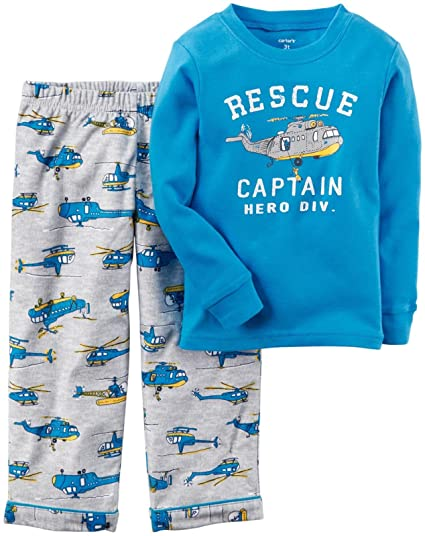 c63ef3071 Amazon.com: Carter's Little Boys' 2 Piece Graphic Tee PJ Set (Toddler/Kid):  Clothing