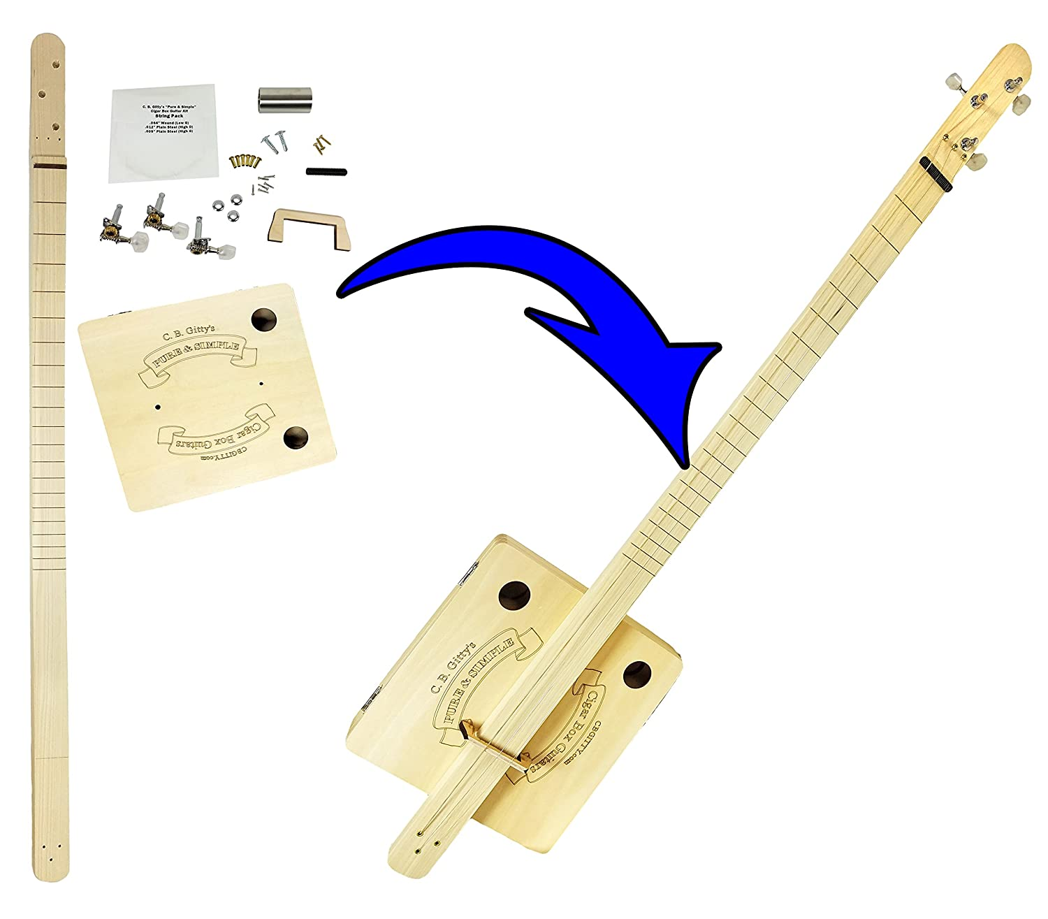 Complete Pure & Simple Cigar Box Guitar Kit - the Easiest CBG Kit to Build, Bar None!
