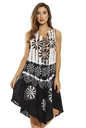 8194b0b792a Riviera Sun Summer Dresses Tie Dye Embroidered Beach Swimsuit Cover ...