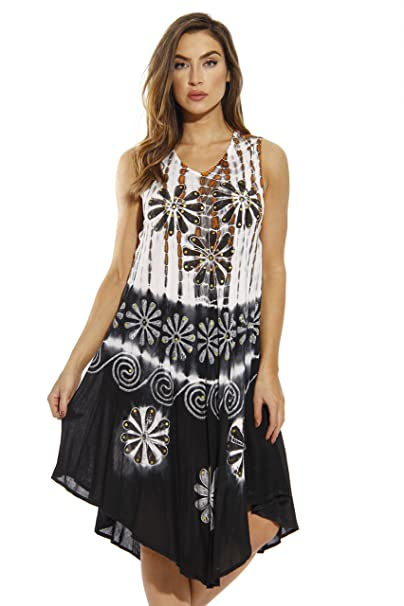 686547e062 Riviera Sun Summer Dresses Tie Dye Embroidered Beach Swimsuit Cover ...