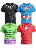 Marvel Avengers Captain America Black Panther Iron Man Hulk 4 Pack T-Shirt