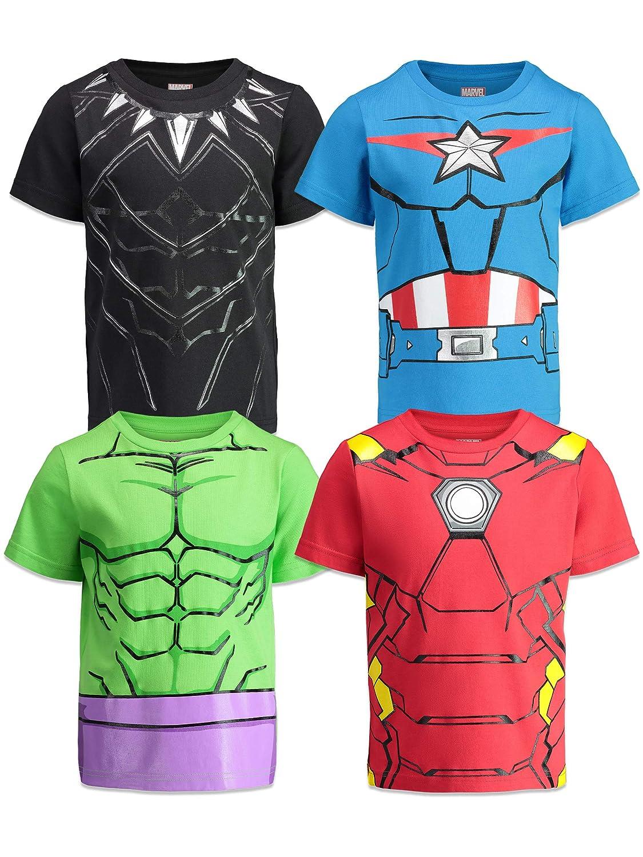 Marvel Avengers Boys 4 Pack T-Shirts Black Panther Hulk Iron Man Captain America
