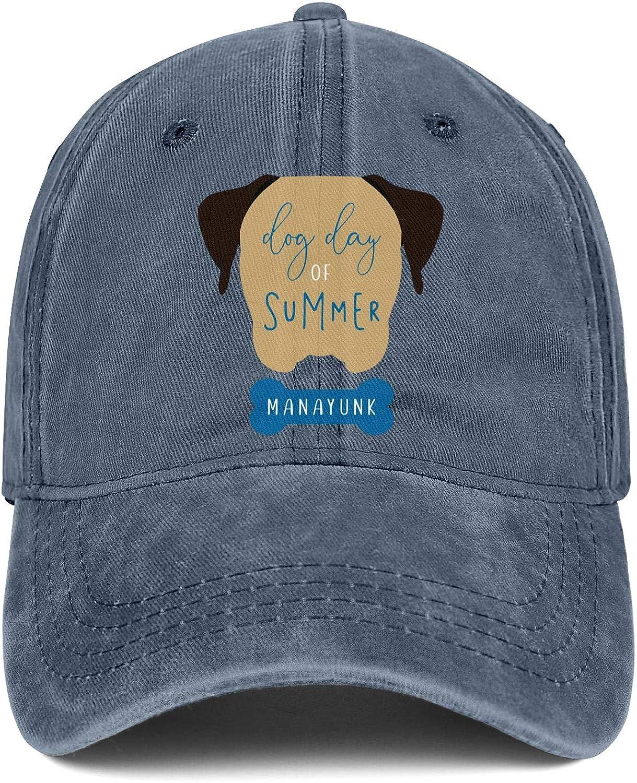 Denim Hat Dog Day of Summer Dog Bone Adjustable Classic Sunscreen Hats for Women//Men