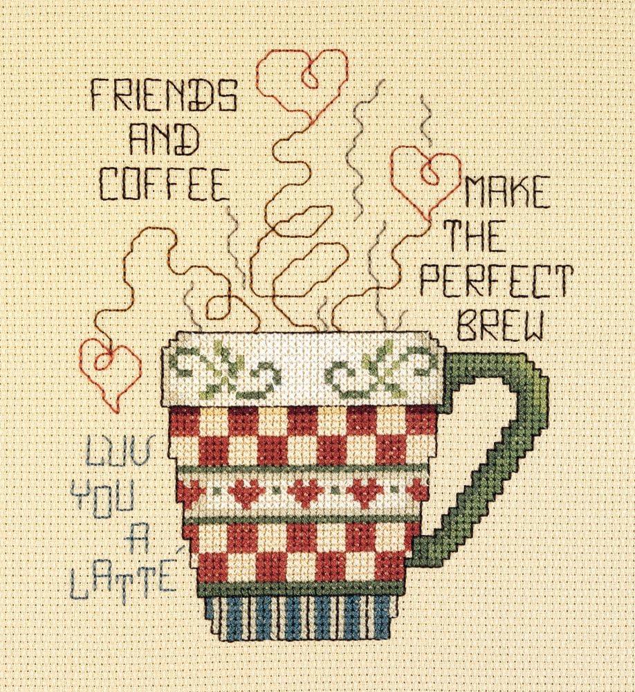 Janlynn Cross Stitch Kit, 5-Inch by 6-Inch, Friends and Coffee