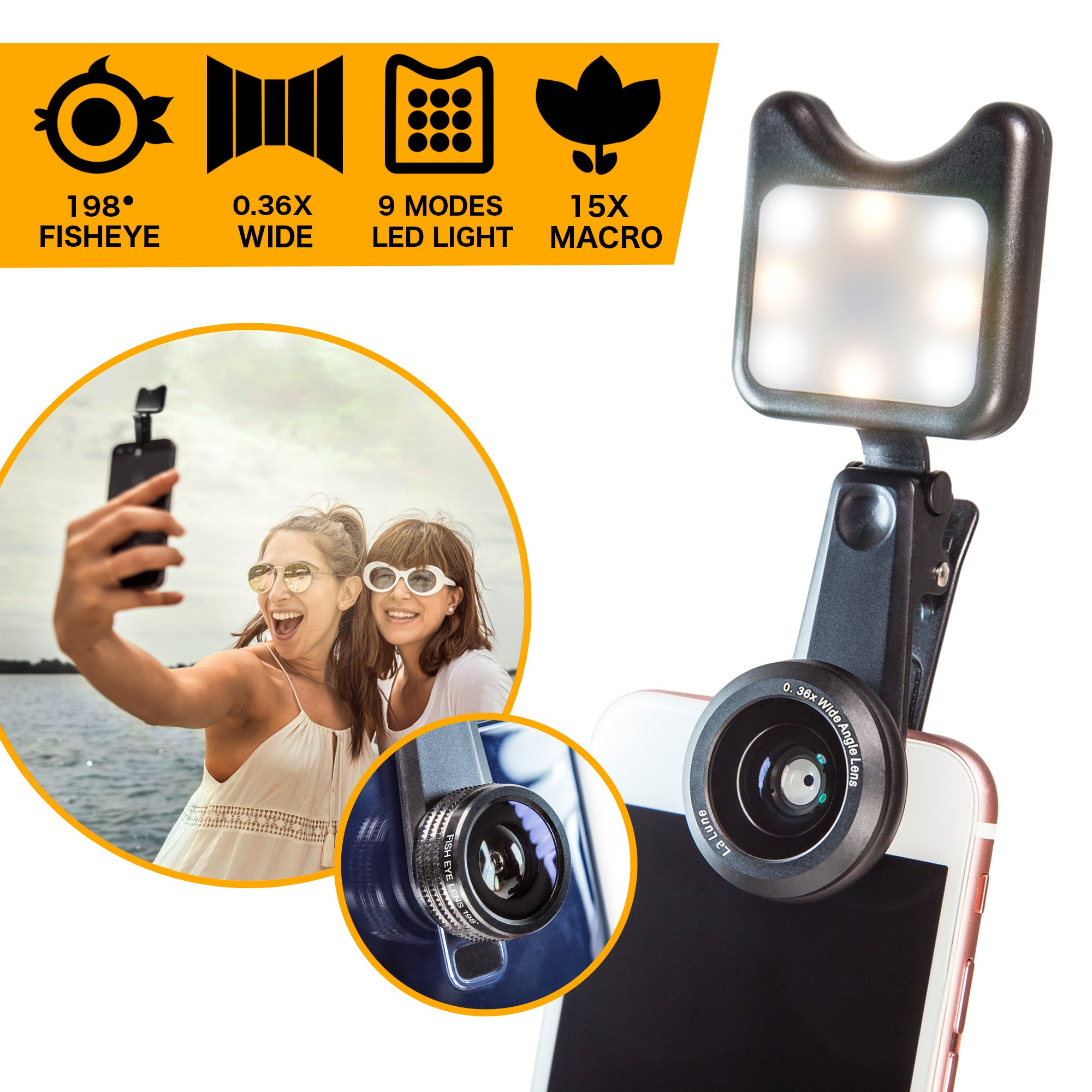 Cell Phone Camera Lens Kit with Clip-On LED Selfie Light - 36x Wide Angle, 15x Macro, 198-degree Fisheye Lens for iPhone, Android Smartphones and Tablets by La Lune