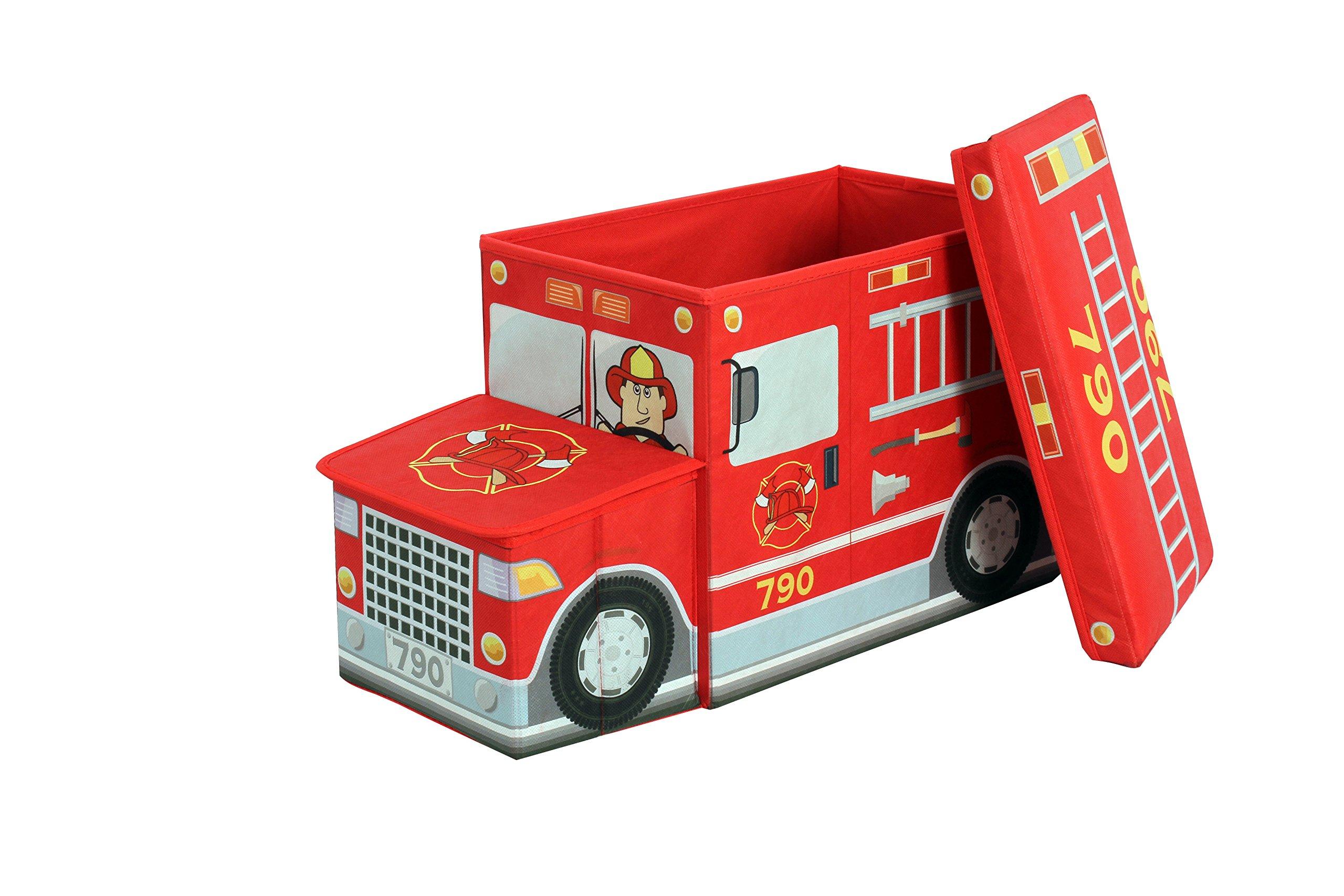 GreenWay Collapsible Fire Truck Children's Storage Ottoman