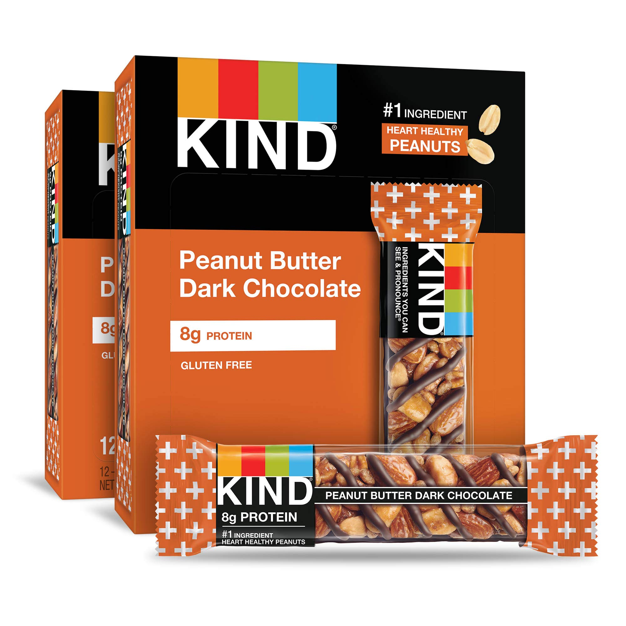 KIND Bars, Peanut Butter Dark Chocolate, 8g Protein, Gluten Free, 1.4 Ounce Bars, 24 Count by KIND