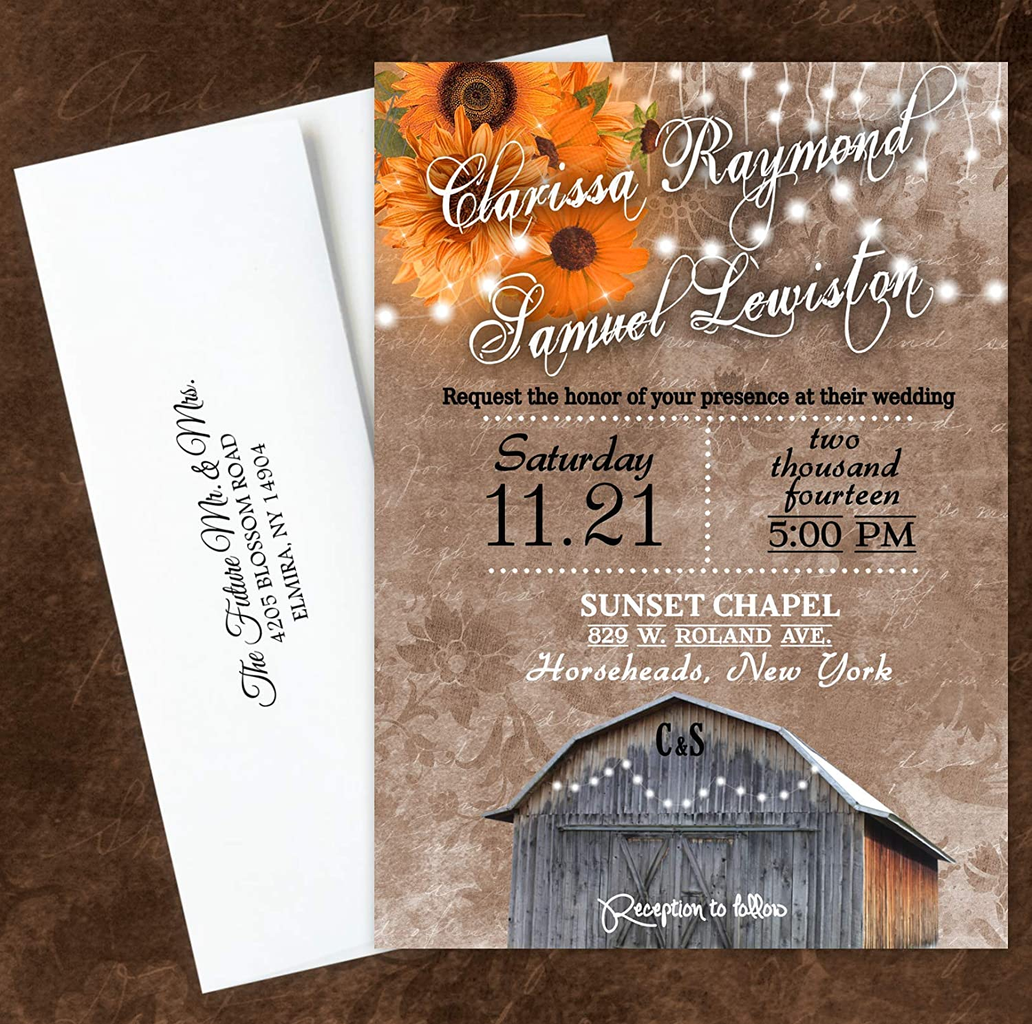 Amazon Com Fall Wedding Invitations Rustic Bridal Shower Rsvp Birthday Cards Set Of 20 Handmade