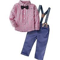 BIG ELEPHANT Pantalones de camisa de manga larga para niños con 2 piezas de Baby Boys con tirantes H03