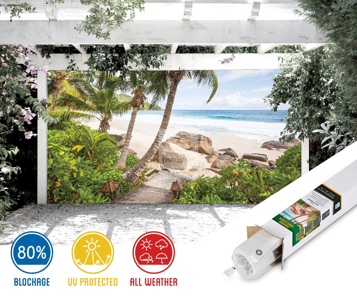 Stairs to Paradise Beach Patio & Gazebo Backdrop Screen (9-ft x 7-ft)