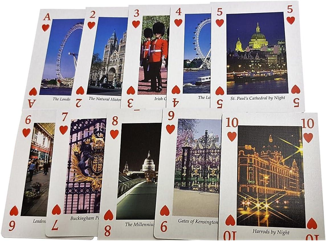 Juego de Naipes 54 Imágenes de Londres - Cartas Recuerdos de Reino Unido / Paquete de colección / Iconos / Big Ben / Autobús rojo / Buckingham / Ojo / Catedral de