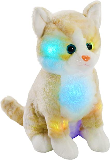 Brown 11 Bstaofy LED Cat Stuffed Animal Kitten Plush Toy Floppy Soft Adorable Gift for Kids Toddlers on Christmas Birhtday Halloween Festivals