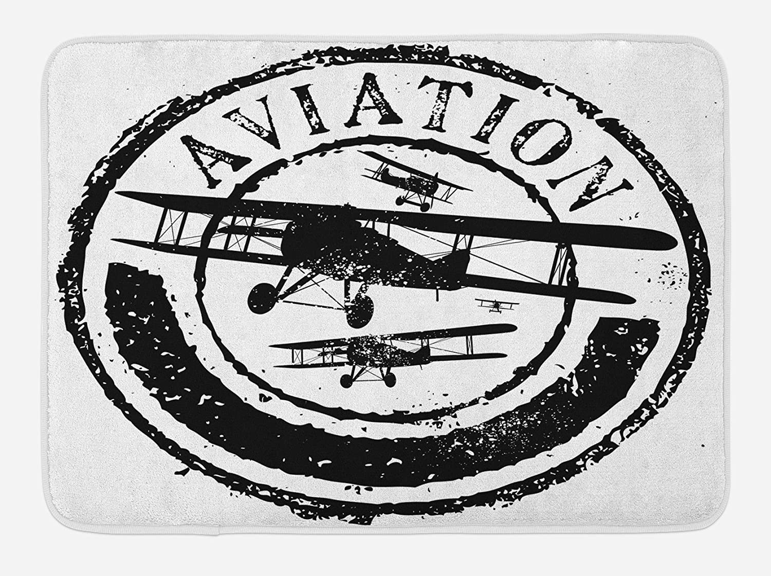 "Ambesonne Vintage Airplane Bath Mat, Grunge Style Stamp Design with Word Aviation and Airplane Silhouettes, Plush Bathroom Decor Mat with Non Slip Backing, 29.5"" X 17.5"", Black and White"