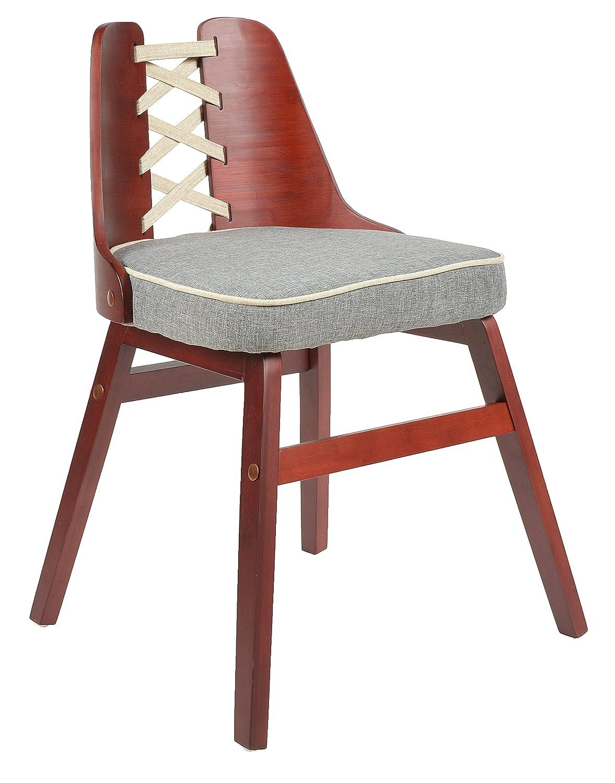 ts-ideen Silla para comedor o cocina en gris rojo + madera