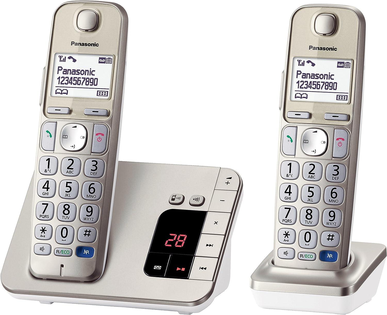 Panasonic KX-TGE222 - Teléfono (Teléfono DECT, Identificador de Llamadas, Champán, Oro) [versión importada]: Amazon.es: Electrónica