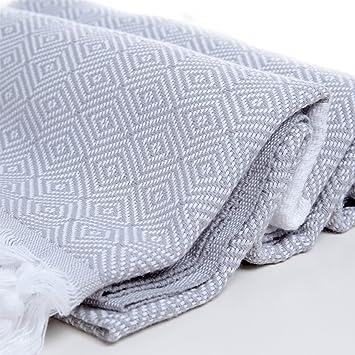Diseño de diamantes algodón toalla Pestemal blanco en gris. Turco toalla. Turco toalla de baño: Amazon.es: Hogar