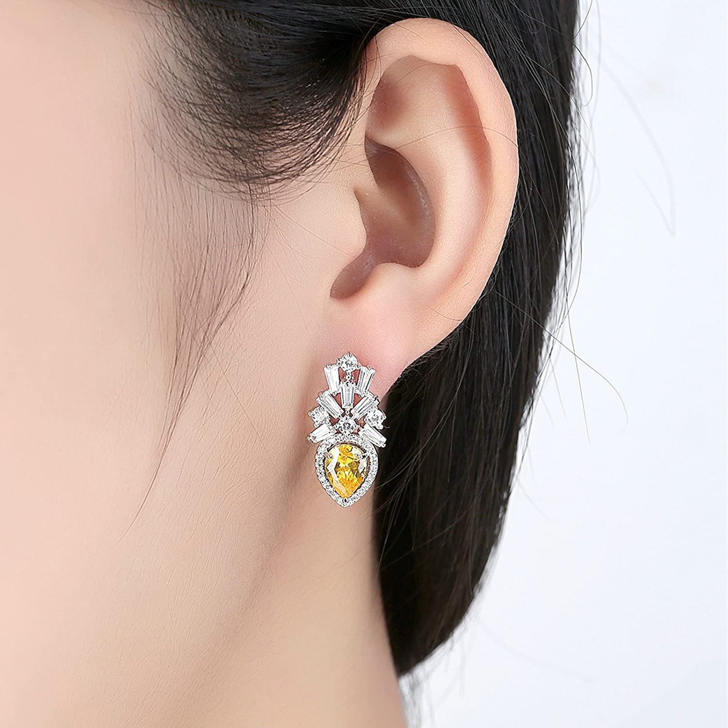 Beydodo Dangle Earrings for Girls Wedding Earring for Bridesmaids Pear and Round Cut Cubic Zirconia