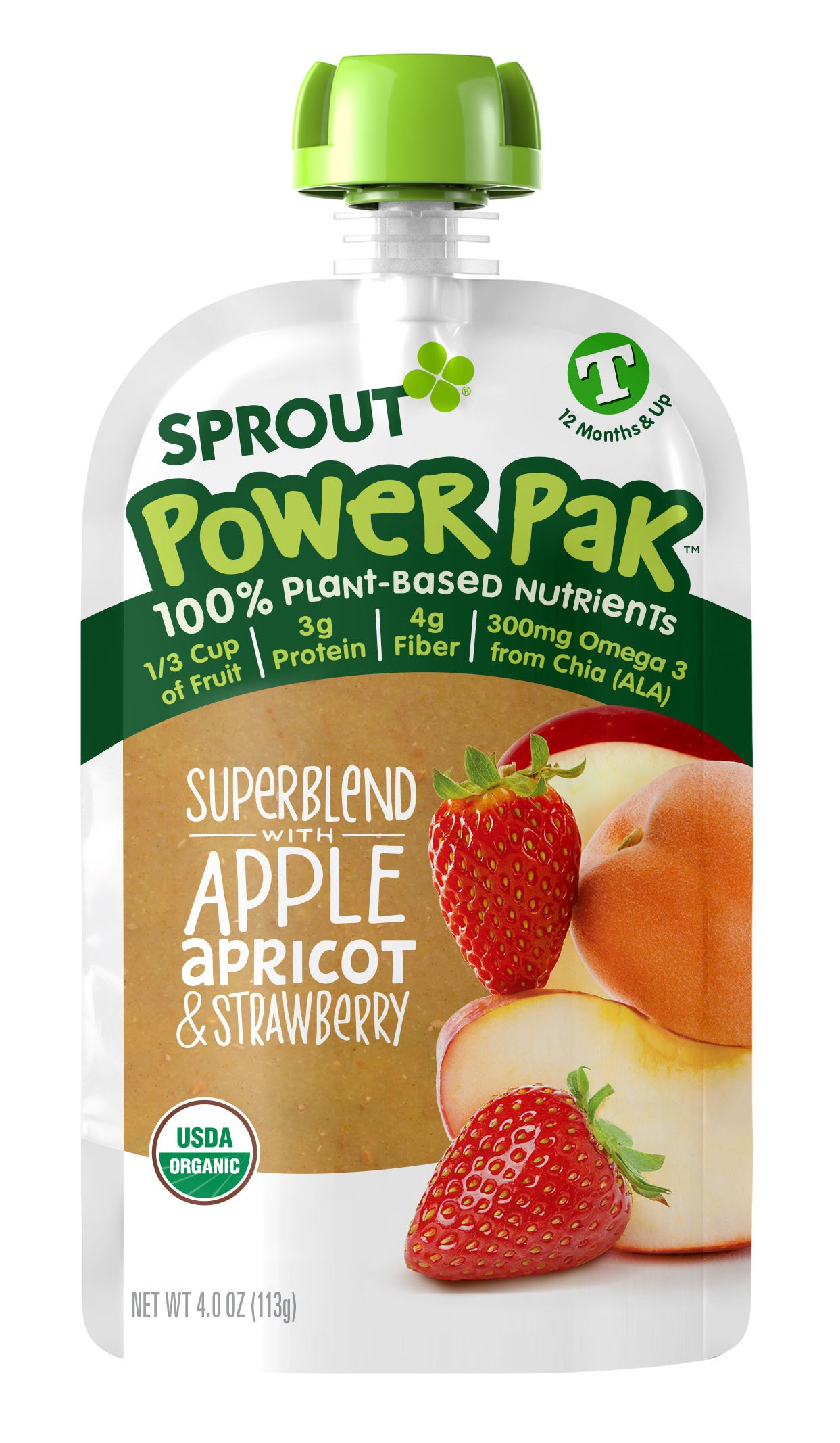 Sprout Organic Baby Food Pouches Sprout Organic Power Pak Toddler Food Pouch, Superblend with Apple Apricot & Strawberry, 4 Ounce (Pack of 6); USDA Organic, Non-GMO, 3 Grams of Protein, Plant Powered