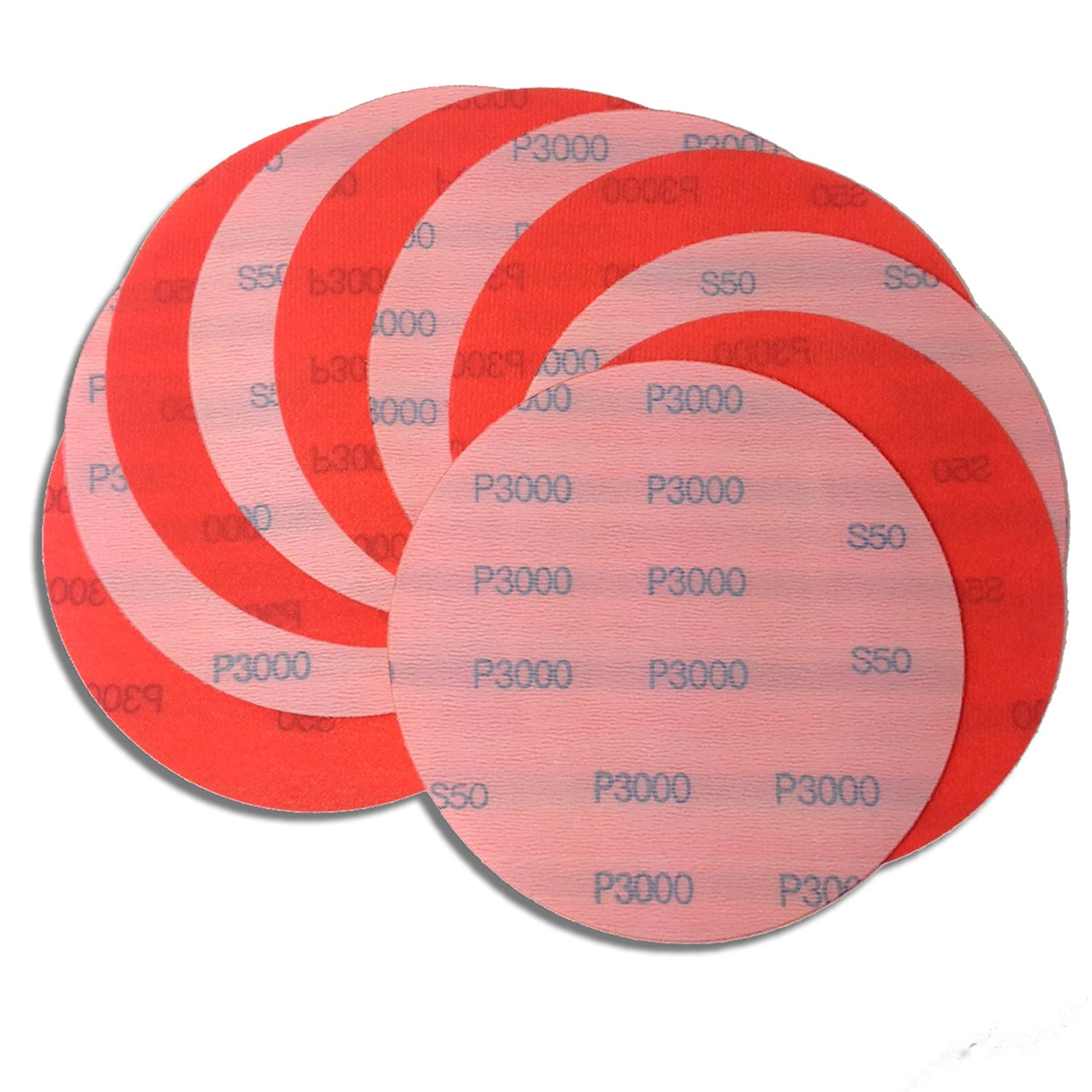 6 Inch 3000 Grit High Performance Hook and Loop Wet / Dry Auto Body Film Sanding Discs, 10 Pack