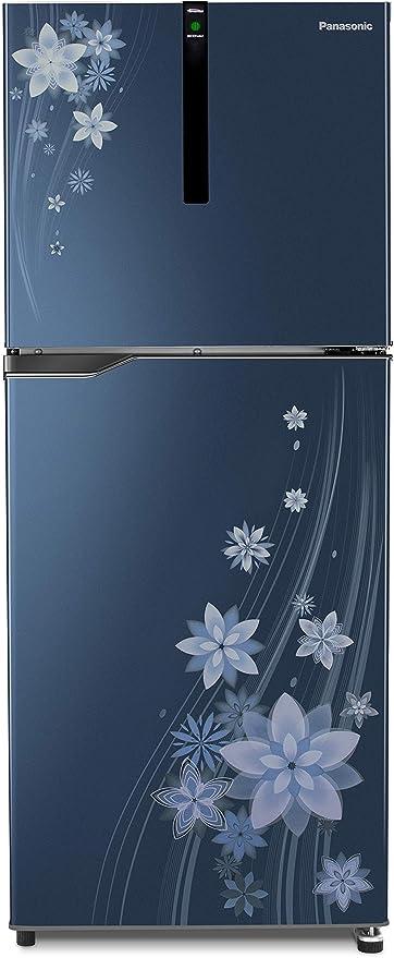 Panasonic 307 L 3 Star Inverter Frost-Free Double-Door Refrigerator (NR-BG311VPA3, Pointed Flower Blue) Refrigerators at amazon