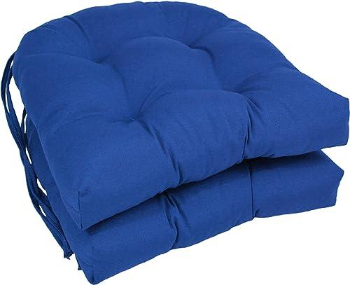 Blazing Needles Solid Twill U-Shaped Tufted Chair Cushions Set of 2
