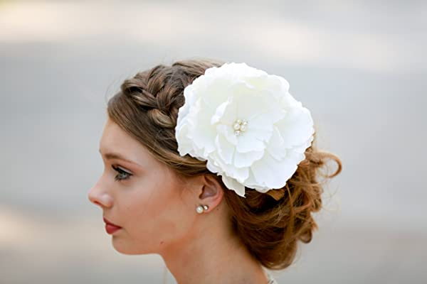 Ivory Bridal Hair Piece Peony Flower Accessory Clip