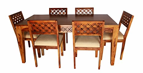 Aprodz Sheesham Wood Durque 6 Seater Dining Table Set For Home