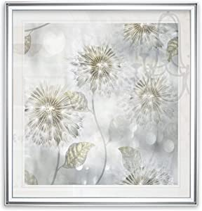 WEXFORD HOME Blowing Wishes I White Dandelion Flowers Art Framed Giclee Canvas Prints Home Wall Decor Painting Ready to Hang, 32 x 32, Silver