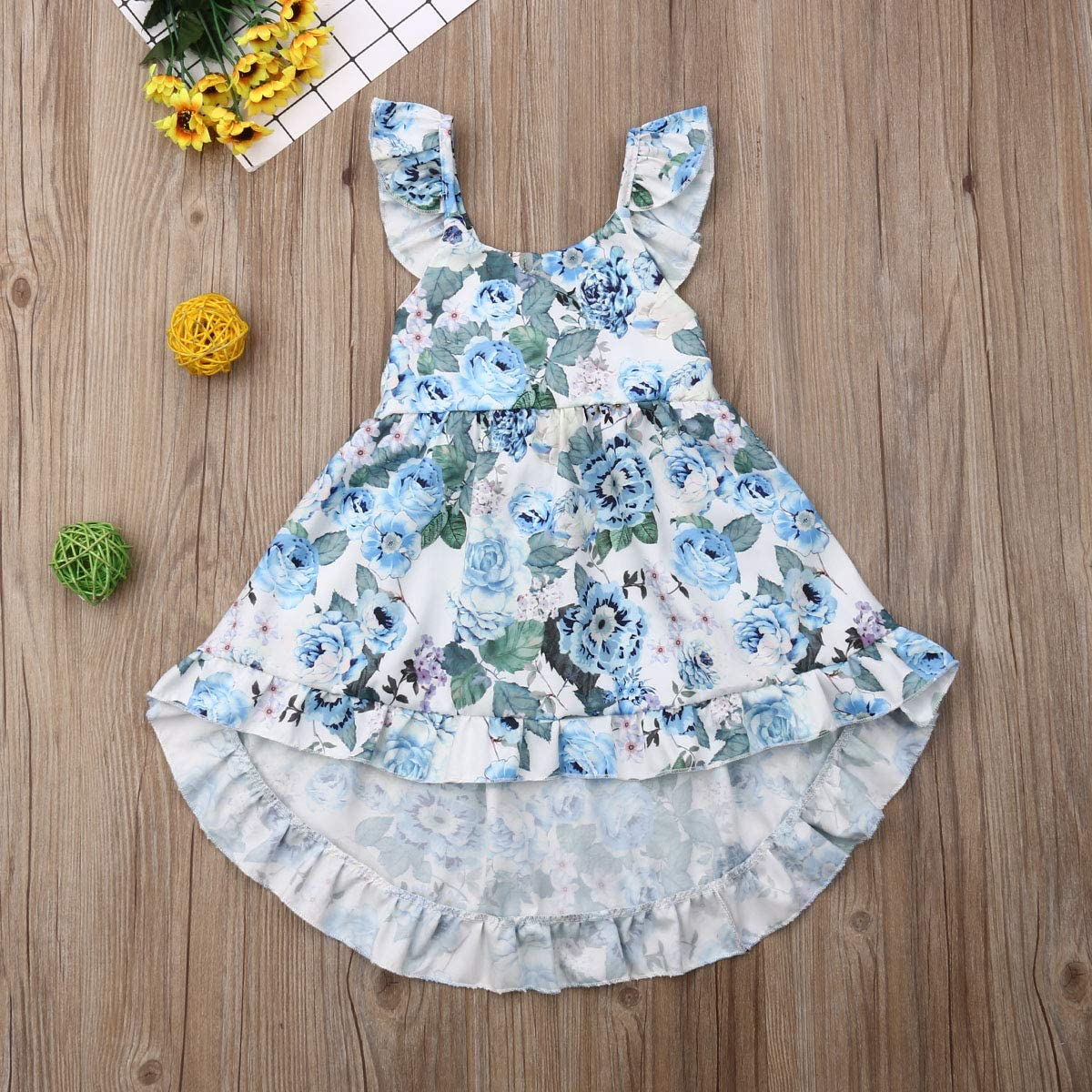 Toddler Baby Girls Summer Outfit Clothes Fly Sleeve Vintage Floral Print Ruffle Rim Skirt Sundress Boho Dress
