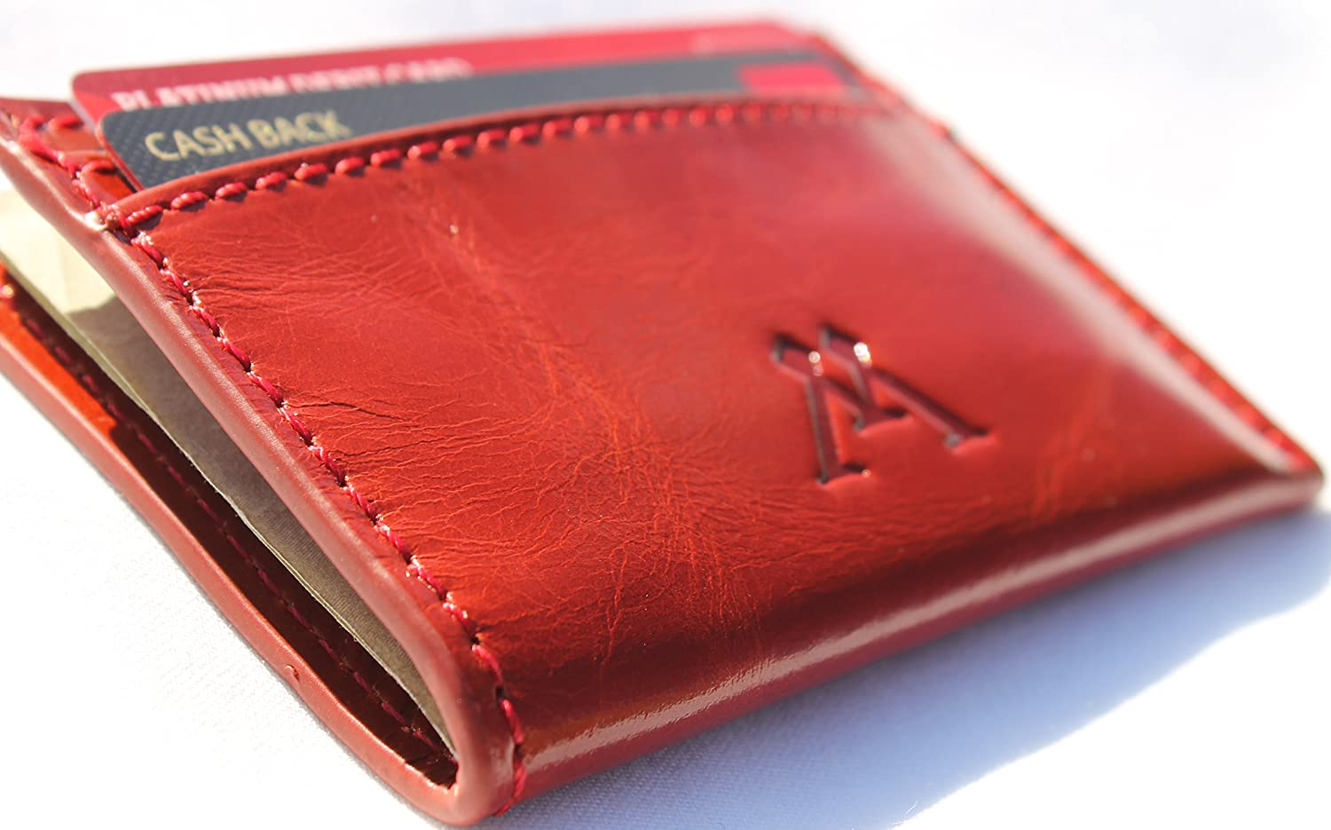 NEW BAGLIONI ITALIA MEN/'S TUSCAN LEATHER FRONT POCKET CARD CASE WALLET COGNAC