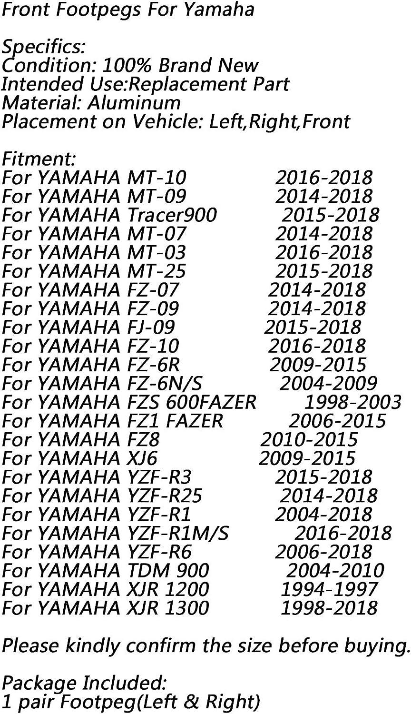Avant Metal P/édale Moto Repose Pied Footrest Footpeg pour Yamaha MT-03 MT//FZ07 MT//FZ09 MT//FZ10 FZ8 FZ1 Tracer900 Artudatech Repose-pieds