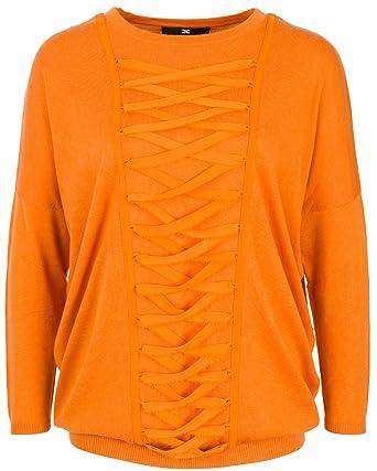 7af6a068ebd6 Elisabetta Franchi Damen Pullover mit Applikation Mandarine, Größe 34 (IT  40)