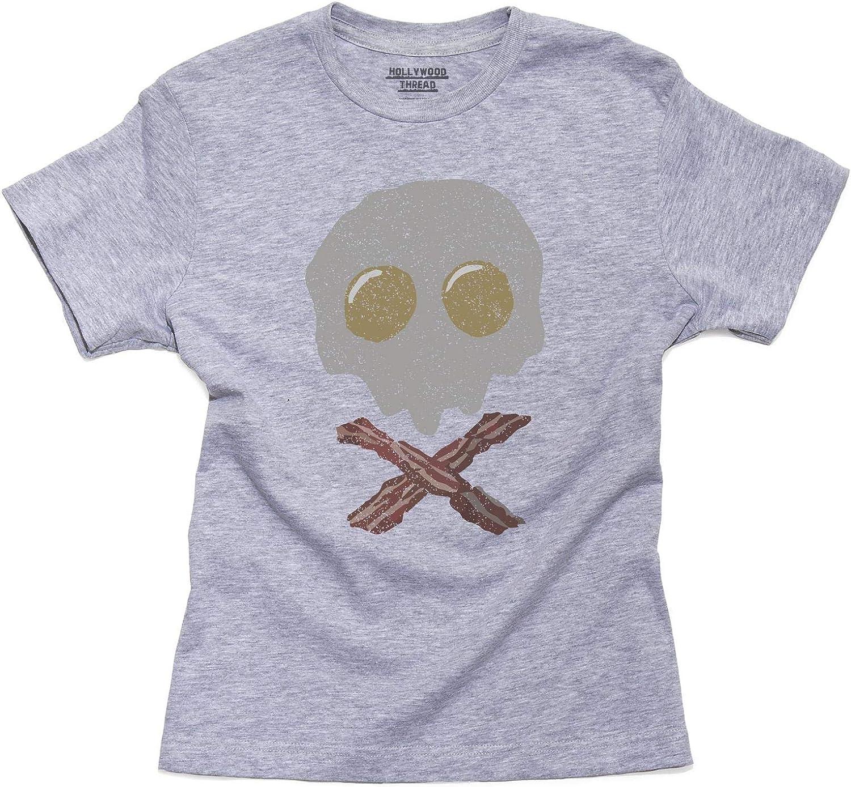Girls T-Shirt Pirates Skull /& Crossbones Made of Bacon /& Eggs  Kids Boys
