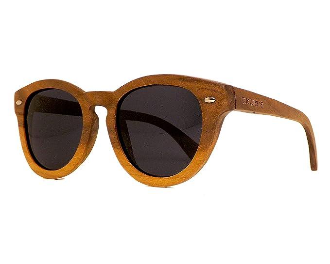 Okulars® Vintage - Gafas de Sol de Madera Redondo para ...