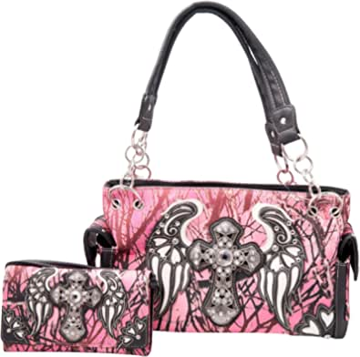HW Collection Western Camo Camouflage Rhinestone Cross Angelic Wings Purse Concealed Carry Handbag and Wallet Set (Pink)