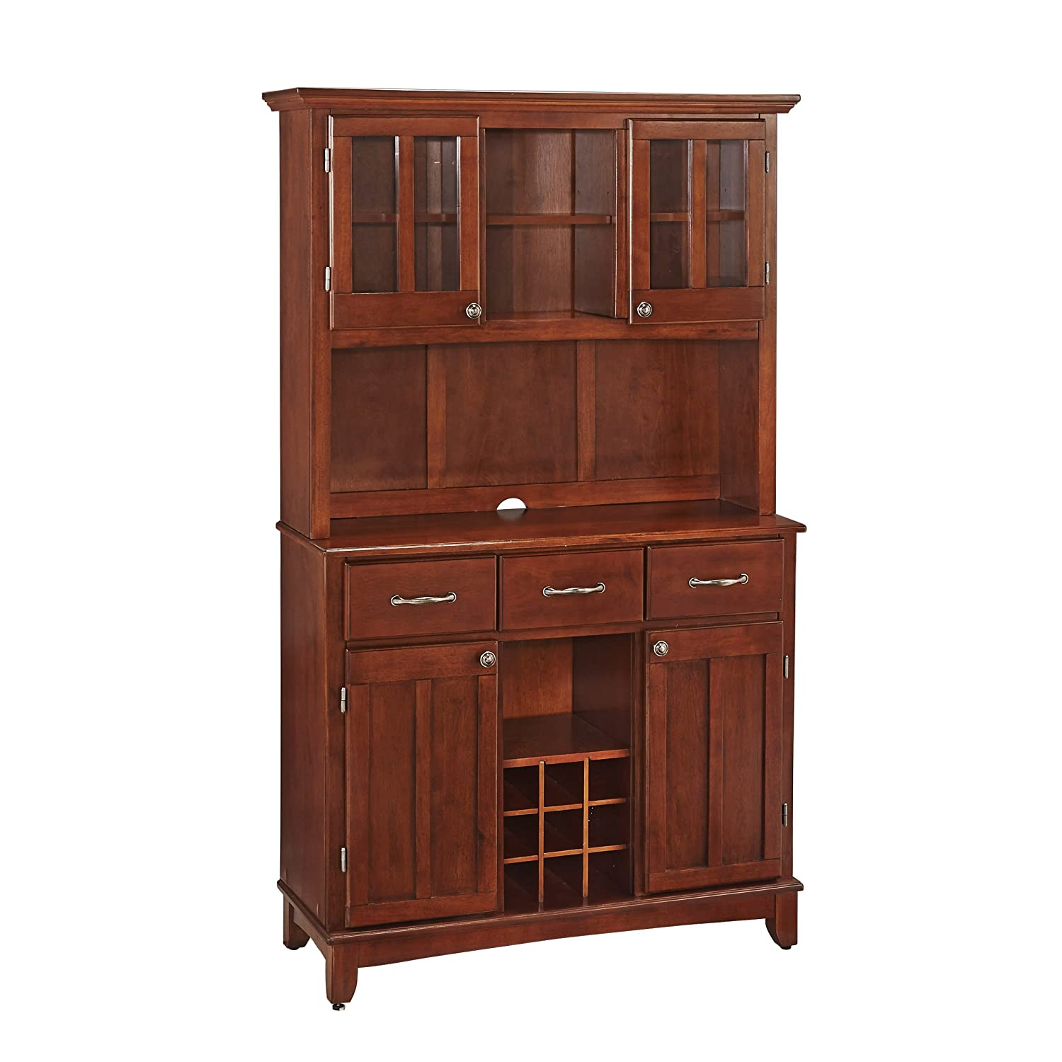 Home Styles Buffet of Buffets Medium Cherry Wood with Hutch, Cherry Finish, 41-3 4-Inch