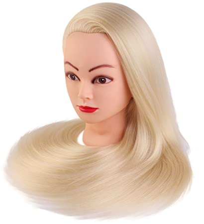 "24"" Cosmetology Mannequin Manikin Heads with Hair ,Salon Styling  Practice Braiding Doll Head-"
